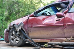 Red car after an accident